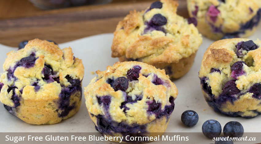 Low Sugar Gluten Free Blueberry Cornmeal Muffins