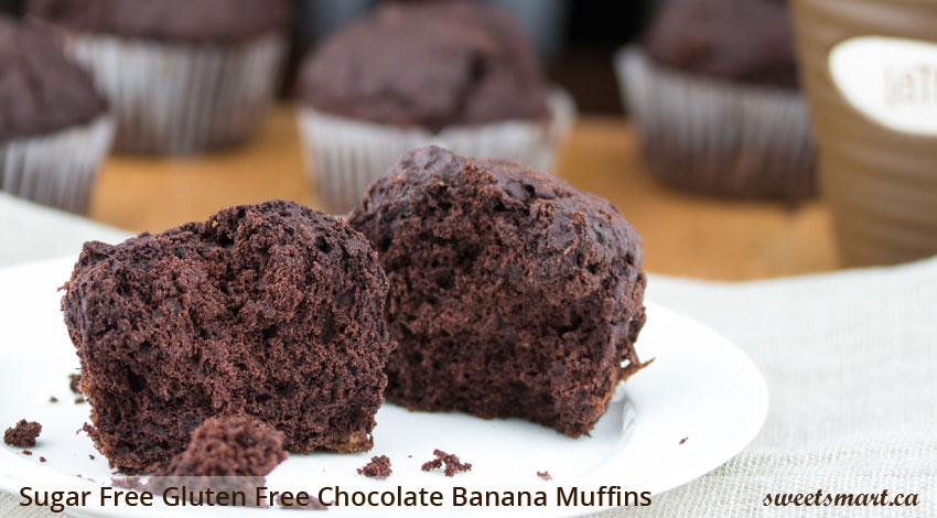 Low Sugar Gluten Free Chocolate Banana Muffins