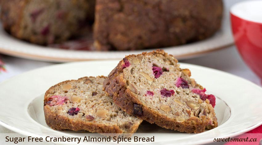 Low Sugar Cranberry Almond Spice Bread